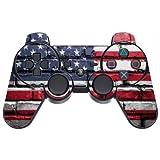 American Flag on Bricks Vintage Grunge PS3 Dual Shock wireless controller Vinyl Decal Sticker Skin by Moonlight Printing