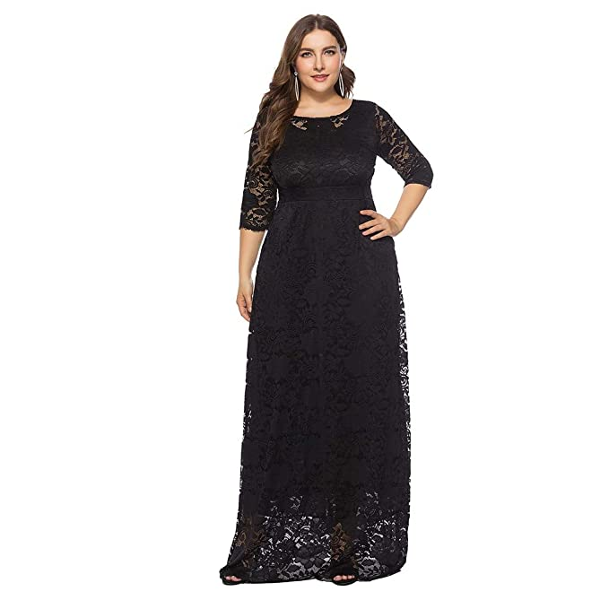 Peacur Women 3/4 Sleeve Dresses Plus Size Elegant Solid Lace Vintage Formal  Evening Party Maxi Dress