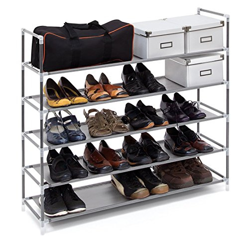 ASSICA 5 Tiers Shoe Rack Space Saving 25 Pairs Fabric Shoe Shelf/Shoe Storage Organizer Stand Cabinet Bench Stackable 33.5