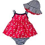 Gerber Girls' Sundress, Bloomer and Hat Set, Anchors, 12 Months
