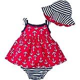 Gerber Girls' Sundress, Bloomer and Hat Set, Anchors, 12 Months
