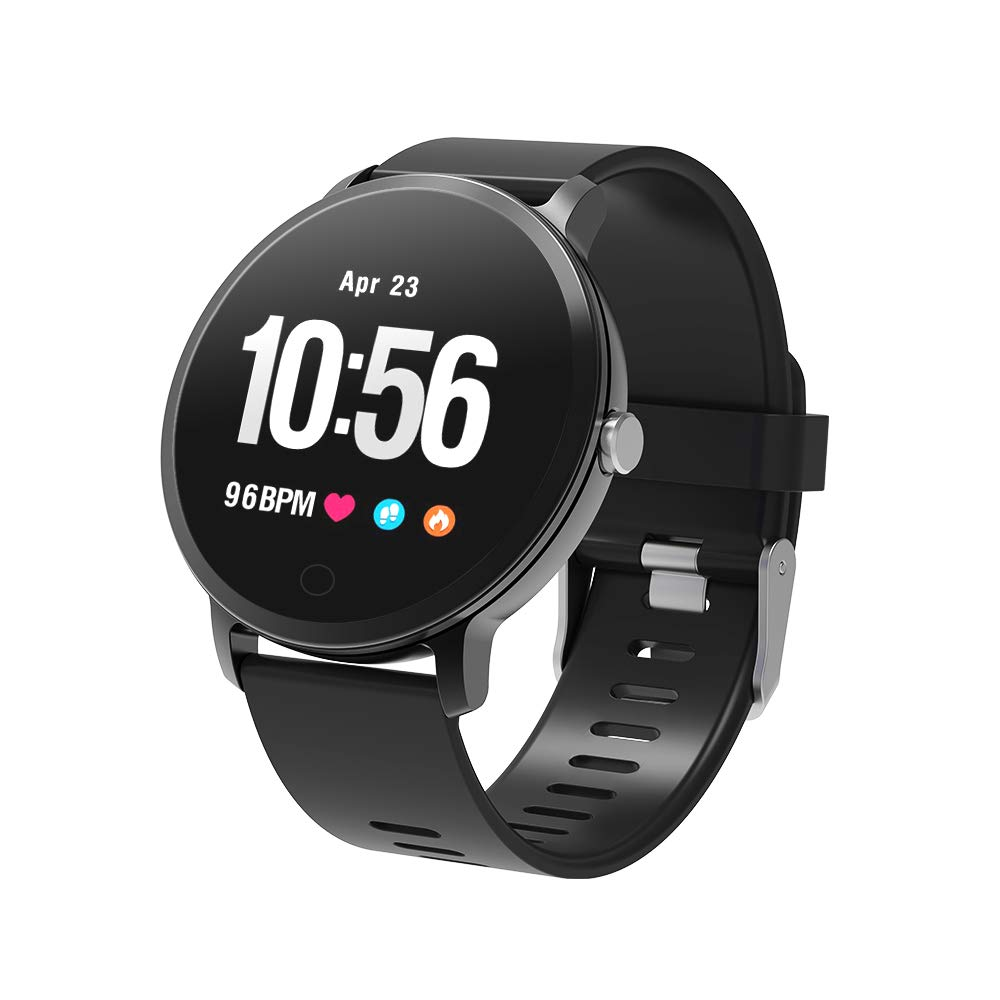 YoYoFit Smart Fitness Watch with Heart Rate Monitor, Waterproof Fitness Activity Tracker Step Counter with Music Player Control, Customized Face Look GPS Pedometer Watch for Women Men, Black by YoYoFit (Image #2)