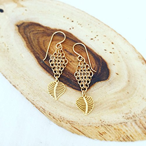 Handmade Gold Chain-Mail And Leaf Drop Earrings
