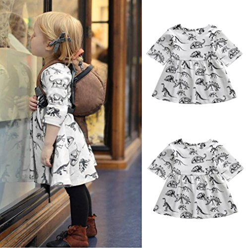 Franterd Toddler Kids Dinosaur Dress Baby Girls Cartoon