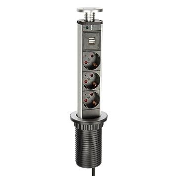 PowerPort Steckdosenleiste für Küche 3er Steckdose Versenkbar ...