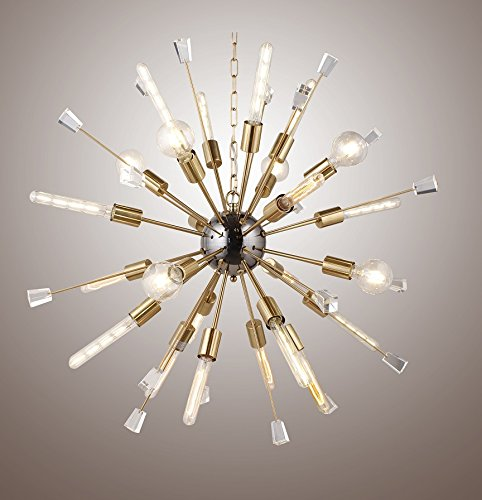 Decomust 40 Large Mid Century Modern Sputnik Light Fixture Italian Starburst Chandelier Gold
