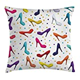 Ambesonne Fashion Throw Pillow Cushion Cover by, Modern Decor of Women Shoes Stilettos Vector Image with Dot Background Artwork, Decorative Square Accent Pillow Case, 16 X 16 Inches, Multicolor