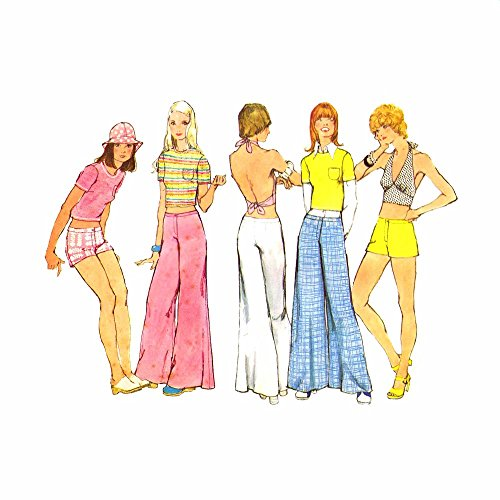 1970s Halter Top Bell Bottom Hip Hugger Pants Shorts Simplicity 5640 Vintage Sewing Pattern Check Offers for Size (1970s Knit Top)