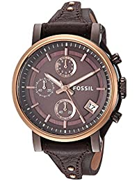 Fossil Women's 'Original Boyfriend' Quartz Stainless Steel and Leather Casual Watch, Color:Brown (Model: ES4286)