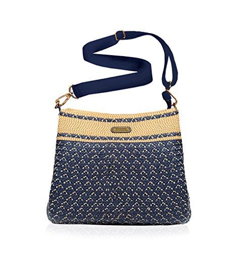Eric Javits Luxury Fashion Designer Women's Handbag - Escape Pouch - Navy Mix by Eric Javits