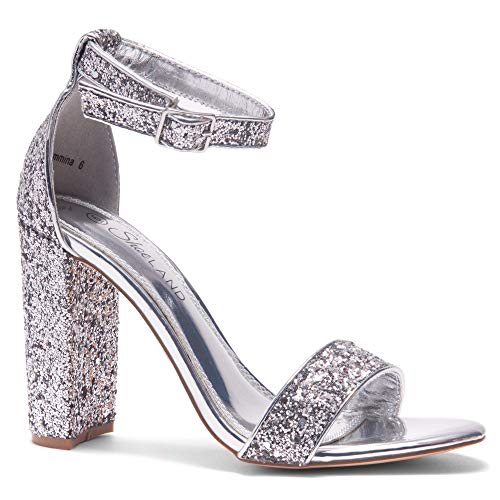 omens Open Toe Ankle Strap Chunky Block High Heel Dress Party Pump Sandals Silver Glitter 6.5 ()