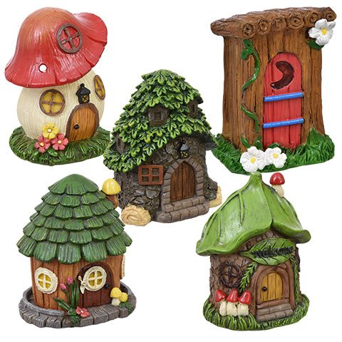 Miniature Fairy Houses, 5 Pieces, Mini Fairy Garden Accessories