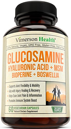 Glucosamine + Hyaluronic Acid + Bioperine + MSM + Boswellia - 100% Vegan Joint Pain in the neck Relief Supplement. Natural Anti-Inflammatory & Antioxidant Pills for your Back, Knees, Hands. Immune System Booster
