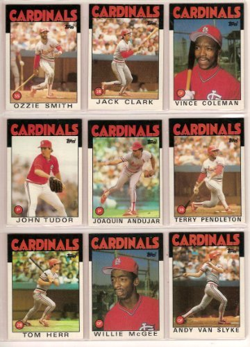1983 St Louis Cardinals (St Louis Cardinals 1986 Topps Baseball Master Team Set with year-end Traded Cards & All-Star Cards) (37 Cards) (Vince Coleman Rookie Card) (Ozzie Smith) (Terry Pendleton Rookie) (Tommy Herr) (Bruce Sutter) (Andy Van Slyke) (Whitey Herzog) (Willie McGee) (Lonnie Smith))