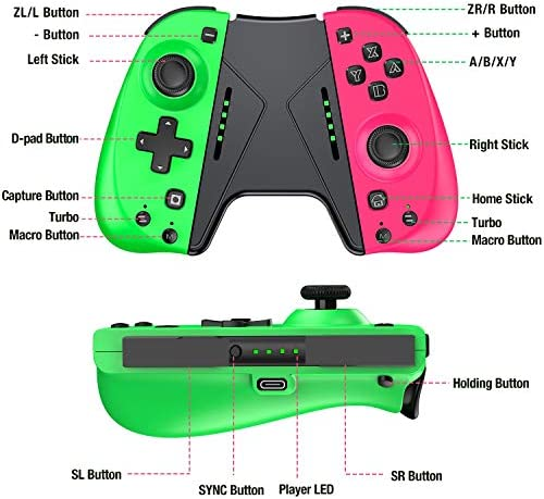 ESYWEN Joy Pad Controller Compatible with Nintendo Switch, Replacement for Switch joycon, Switch Controller Joypad with Macro Button and Grip Stand