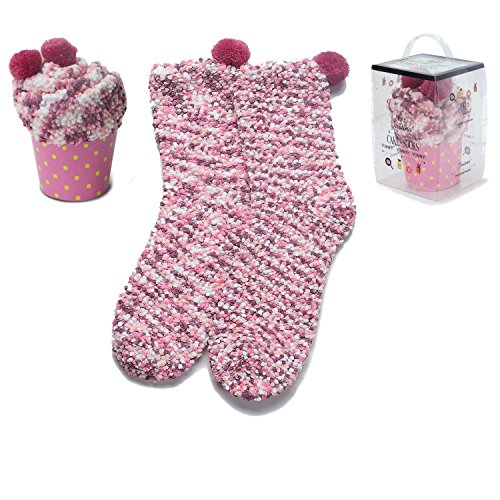 - Women's Cozy Super Soft Warm Fuzzy Plush Crew Socks with Gift Box(2 Pairs) (2Pink)