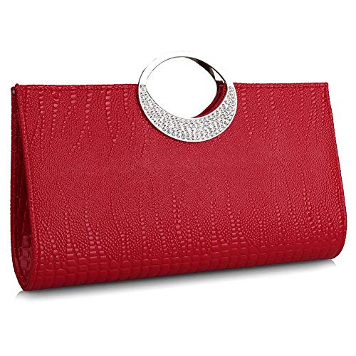 Womens Luxury Evening Purse Clutch Rhinestone Leather Handbag Wallet for Wedding and Party (Red)