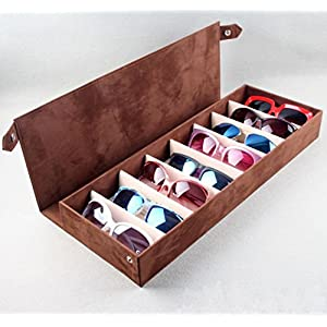 O-Landy 8 Grids Leather Eyeglass Sunglass Boxes Eyewear Storage Organizer Jewelry Display Case
