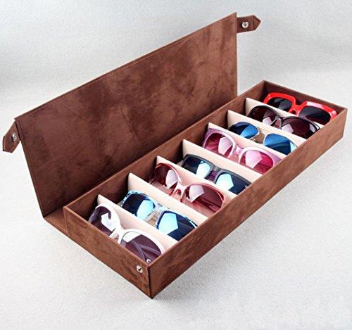 PythonWorld 8 Grids Deer Leather Eyeglass Sunglass Boxes Eyewear Storage Organizer Eyewear Jewelry Display - Uk Sunglasses Buy Prescription Online