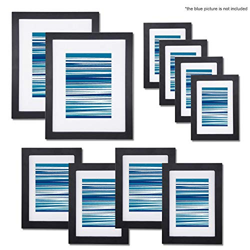 10 Pack Photo Frame Set for Table Display and Wall Mounting, Picture Frame with White Mat, 4x6/5x7/8x10 inch Photo Frames