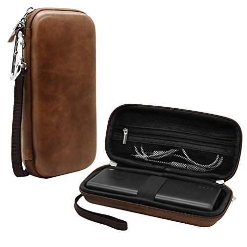Travel Shockproof Hard Case for Anker 20100mAh Portable Charger PowerCore 20100, External Battery Power Bank, Zipper grid design, Elegant Brown, By Logity.