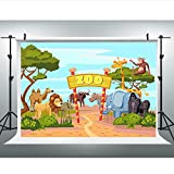 Maijoeyy 7x5ft Children Baby Newborn Backdrop Zoo Backdrop Animals Photo Booth Photography Props 1048643027