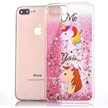 Quicksand Liquid case for iPhone 7 Plus with [Free Tempered Glass Screen Protector], Glitter Bling Clear Protective Unique Star Flowing Liquid Cover TPU Case for iPhone 7 Plus 5.5-Quote Unicorn Pink