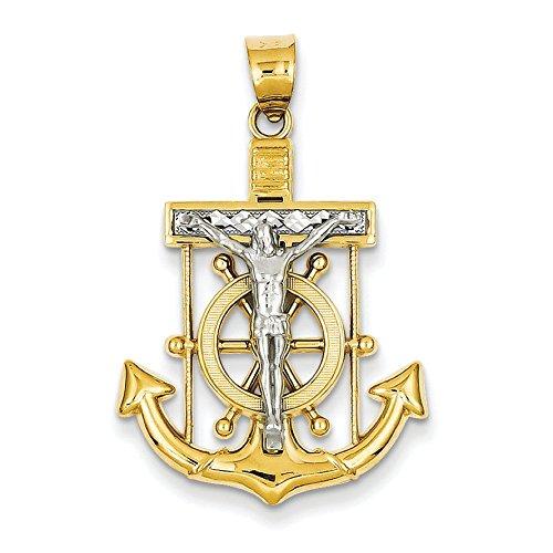 14 carats-Bicolore-les marins de taille diamant pendentif croix-Dimensions :  21,9 x 34 JewelryWeb mm -