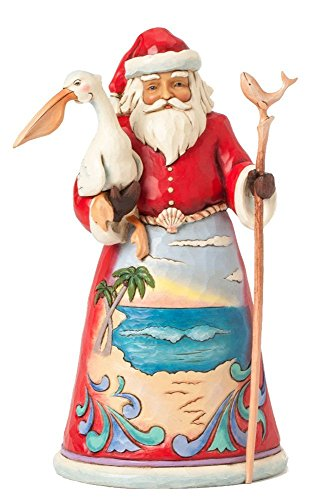 Jim Shore for Enesco Heartwood Creek Beach Santa with Pelican Figurine, 9.75-Inch