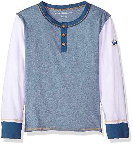 Burt's Bees Baby Little Kids Organic Long Sleeve Crewneck Tee, Twilight Heather Henley, 6 Bee Long Sleeve T-shirt