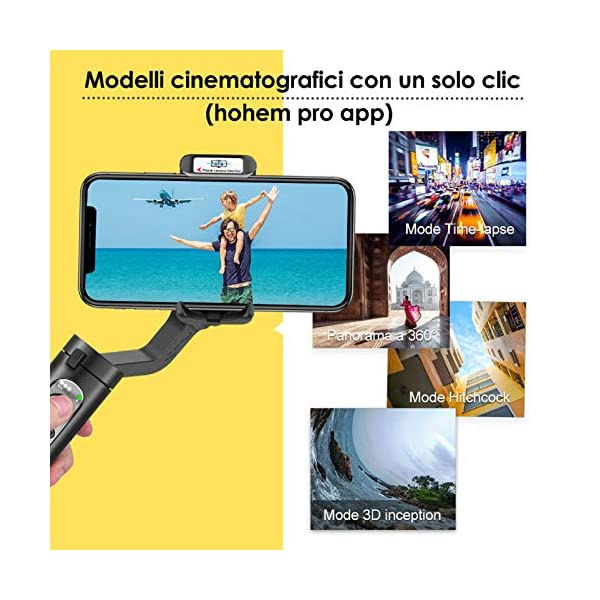 Gimbal Smartphone – Hohem 3 Assi Stabilizzatore Smartphone Portatile con 5 Modalità per Vlog/Youtuber, Stabilizzatore Video Caricamento 280g per Iphone 12/11/Xs Max/Samsung Galaxy/Huaiwei/Xiaomi etc 4 spesavip