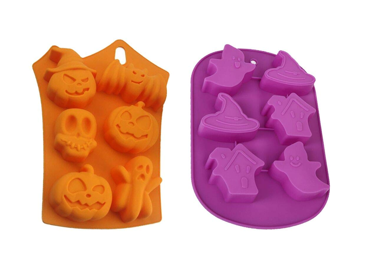Halloween Candy Making Molds Silicone Halloween Ghost Pumpkin Baking Mold Set, Non-stick Silicone Baking Mold, Set of 2