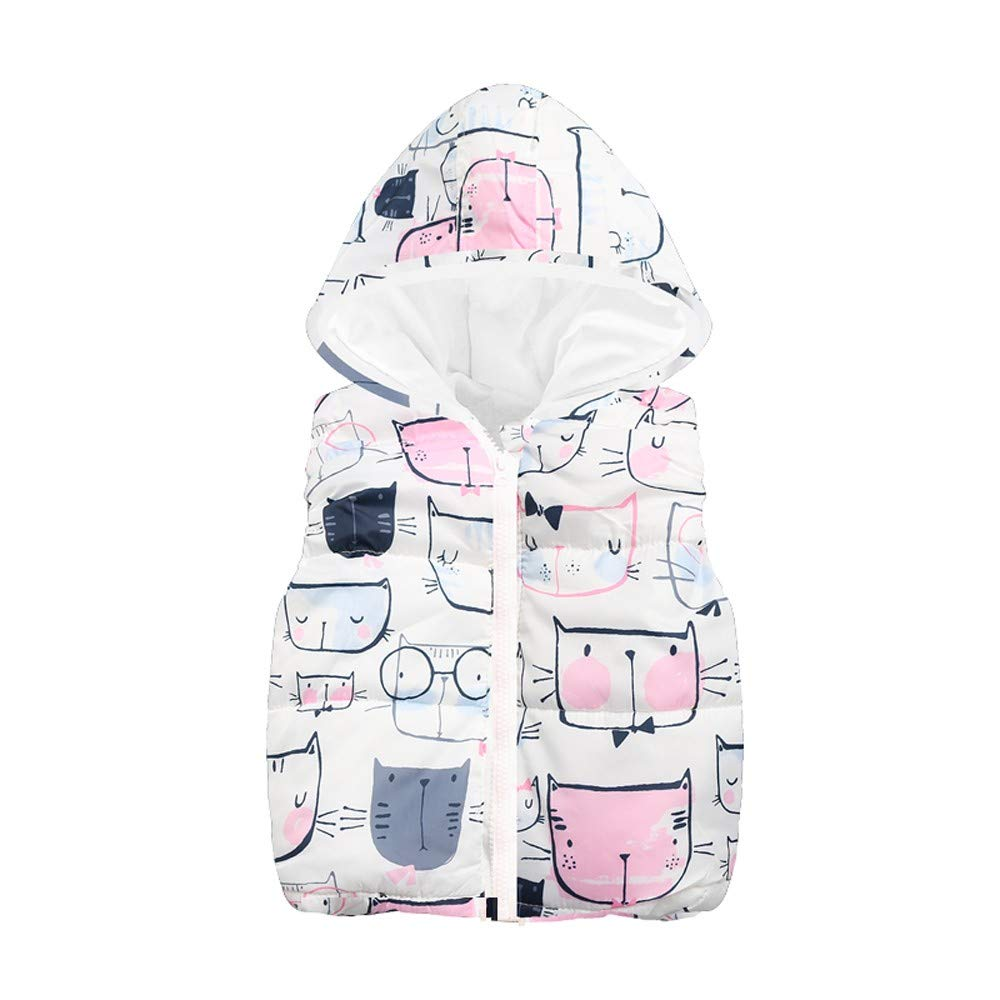 Jchen(TM) Clearance Little Boy Cartoon Cat Sleeveless Coat,Suitable for 1-6 Years Old,Toddler Kids Baby Girls Boys Sleeveless Cat Print Hooded Warm Waistcoat (Age: 2-3 Years Old, White)