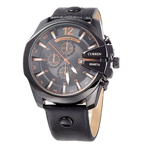 CURREN Original Mens Sports Waterproof Calendar Leather Strap Wrist Watch Good Quality 8176 All Black