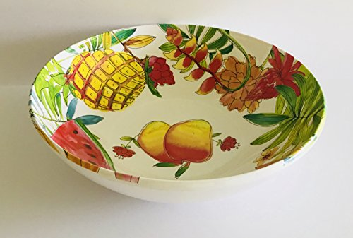 - Sets Of 4 Or 2 | Colorful Tropical Fruits Pineapple | Watermelon | Flowers Melamine Serving Bowl | Dinner | Lunch | Salad | Dessert Plates | Sturdy | Heavy (Serving Bowl | 11 x 3.5 inches)