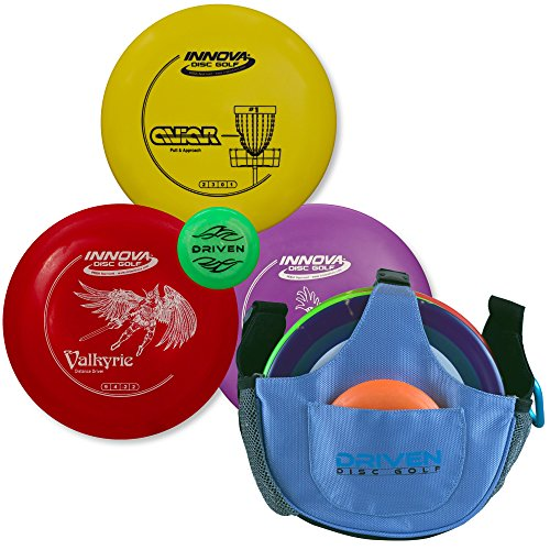 Driven Disc Golf Set - 3 Disc Starter Kit + Arctic Blue Slingshot Bag - Perfect for Beginners - Includes Innova Drivers, Midrange, and Putter + FREE Mini Disc and 100% Satisfaction Guarantee (Shot Disc)