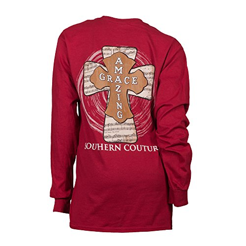 Southern Couture SC Classic Amazing Grace Longsleeve Classic Fit Adult T-Shirt - Cardinal Red