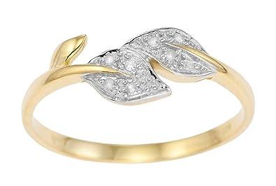 Bague - Femme - Or jaune 9 carats avec Diamant la beauté à l'état pur !