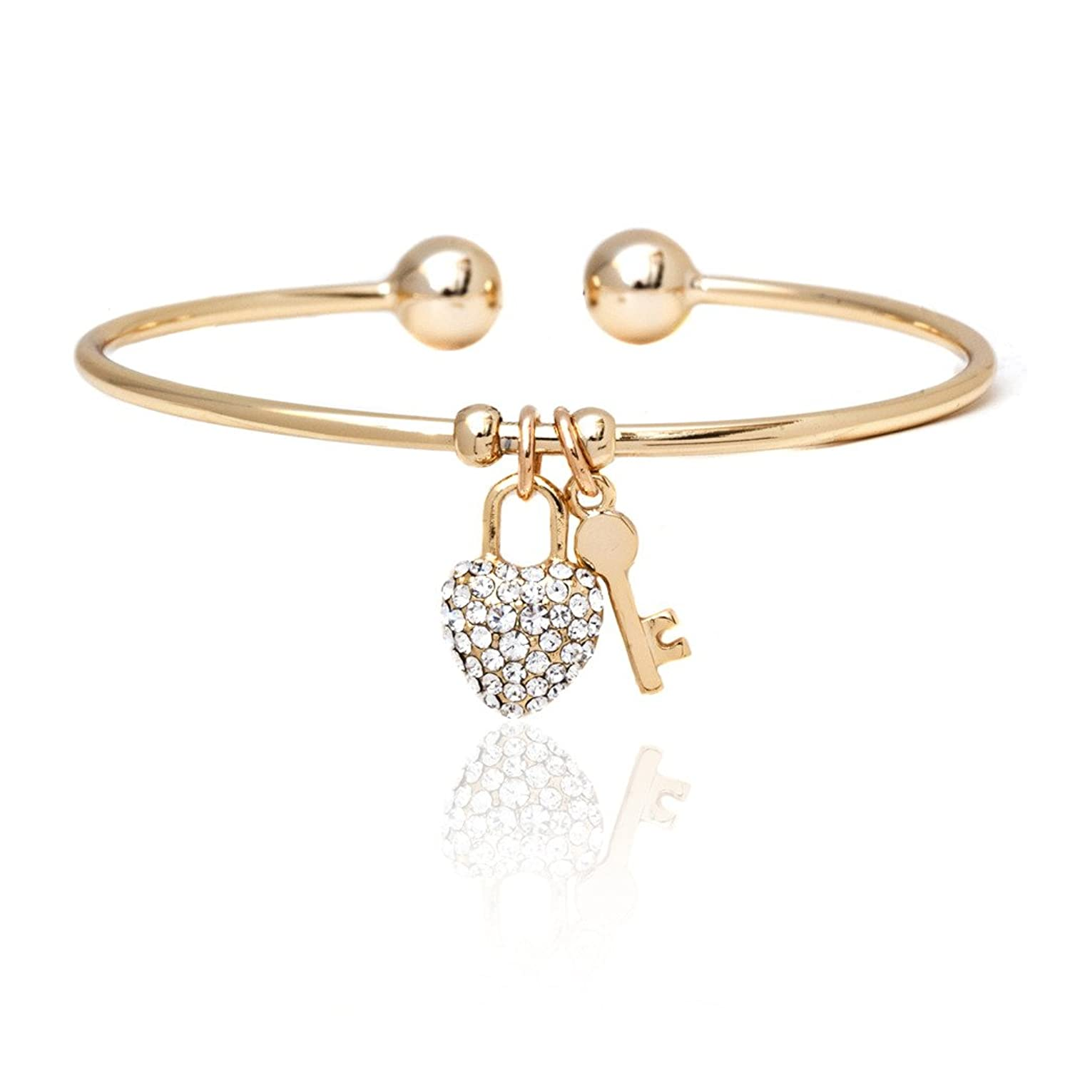 Amazon Gold and Swarovski Elements Heart and Key Charm Bangle