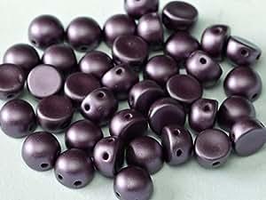 25pcs cristal Bead–Marca nuevo Checa perlas de vidrio prensado en forma half-Sphere 6x 4mm con 2orificios en el base del cuentas, pastel Bordeaux