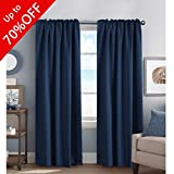 Cheap 100% Blackout Curtain Panels Solid Thermal Insulated Window Treatment Blackout Drapes/Draperies for Bedroom/Living Room, Navy – 52×84 Inch