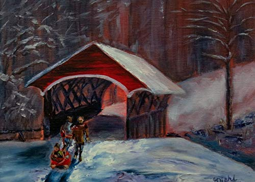 Rustic Country Winter Red Covered Bridge with Figures and Child in Sled on Snow Landscape Wall Decor Fine Art Realism 11