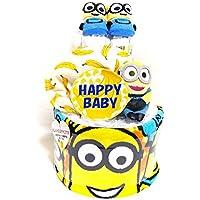 17027纸尿裤蛋糕层男女通用 ミニオンズ 吉祥物和婴儿袜子 キャラクターオムツケーキ 出生礼物