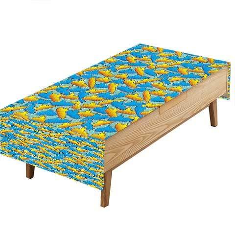 PINAFORE フィットポリエステルテーブルクロス イエローサブブルースカイバルーン 雲 鳥 ペリスコープカラー キッチン 幅50×長さ80インチ W50