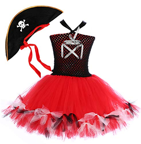 Tutu Dreams Toddler Pirate Costume Fancy Princess Dress with Pirate Hat Red Black Masquerade Carnival Party (Medium, Pirate)