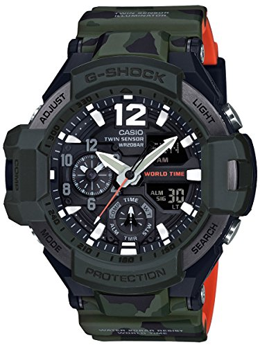 Casio Men's G Shock Quartz Watch with Resin Strap, Black, 27.5 (Model: GA-1100SC-3ACR)