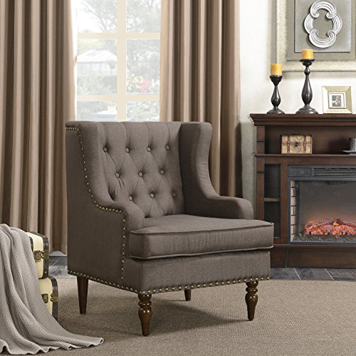 Belleze Upholstered WingBack Accent Chair Traditional Stylish Button Tufted Nailhead Trim Armrest, Dark Brown