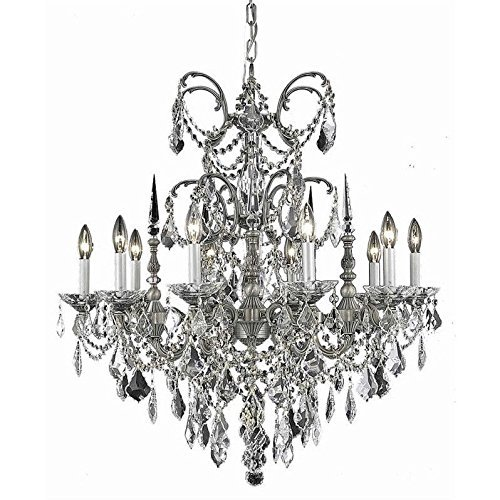 Elegant Lighting 9710D30PW-GT/RC Royal Cut Smokey Gold Teak Crystal Athena Single Tier 10 Light Pewter Crystal Chandelier, 30