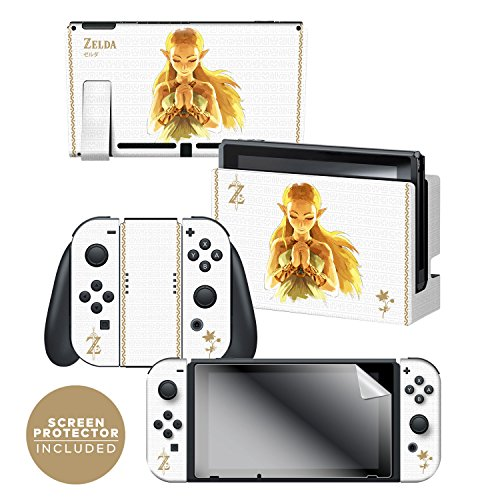 Controller Gear Nintendo Switch Skin   Screen Protector Set Officially Licensed By Nintendo   The Legend Of Zelda  Breath Of The Wild Princess Of Light