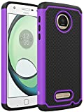 Moto Z Play Case, LK [Shock Absorption] Drop Protection Hybrid Armor Defender Protective Case Cover for Motorola Moto Z Play Droid (Purple)